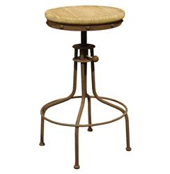 Clint Industrial Loft Architects Wood Swivel Bar Counter Stool | Kathy Kuo Home