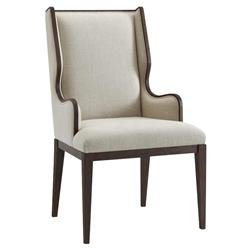Theodore Alexander Modern Classic Della Brown Wood Wingback Dining Armchair
