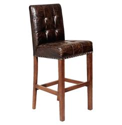 Bellagio Man's Room Top Grain Distressed Leather Barstool | Kathy Kuo Home