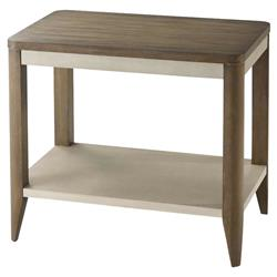Theodore Alexander Modern Classic Riley Brown Wood Embossed Leather Side Table