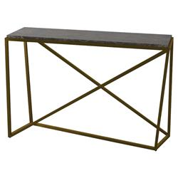 Theodore Alexander Modern Classic X Black Wood Gold Metal Console Table