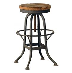 Oleg Industrial loft Iron Base Reclaimed Wood Bar Counter Stool | Kathy Kuo Home