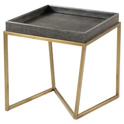 Theodore Alexander Modern Crazy X Square Gold Metal Grey Leather Tray Table