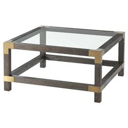 Theodore Alexander Modern Morrison Small Square Brown Wood Coffee Table