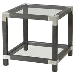Theodore Alexander Modern Rayan Square Grey Wood Clear Glass Side Table