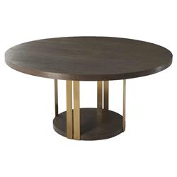 Theodore Alexander Modern Tambura Round Brown Wood Silver Metal Dining Table