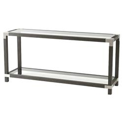 Theodore Alexander Urbana Rectangular Grey Wood Clear Glass Console Table