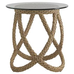 Tommy Bahama Aviano Modern Glass Round Outdoor Wicker Side End Table