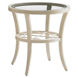 Tommy Bahama Misty Garden French Country Glass Round Outdoor Side End Table