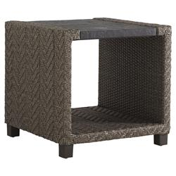 Tommy Bahama Blue Olive Modern Stone Wicker Square Outdoor Side End Table