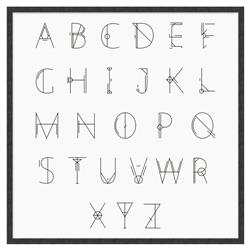 Blodwen Modern Classic English Alphabet Framed Canvas Art - I