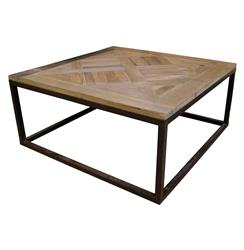 Gramercy Modern Rustic Reclaimed Parquet Wood Iron Coffee Table