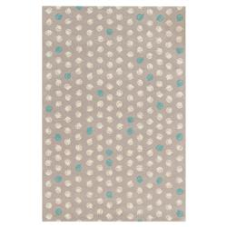 Luna Modern Dotted Grey White Green Wool Rug - 5' x 7'6