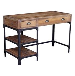 Luca Reclaimed Wood Rustic Iron Industrial Loft Small Desk