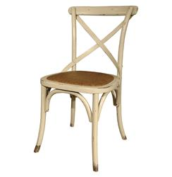 Kasson Classic Parisians Antique White Caned Rattan Seat Cafe Chair