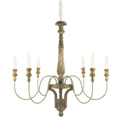Adelle Mid Century 6 Arm Rustic Brown Wood and Gold Leaf Chandelier
