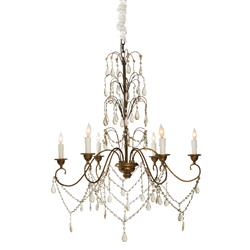 Christian Mid Century 6 Arm Dangling Crystal Royal Chandelier