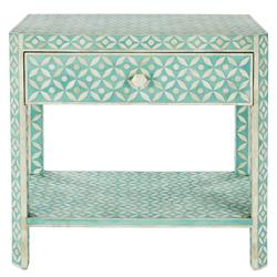 Danny Global 1 Drawer Blue and Ivory Bone Rectangular Side Table