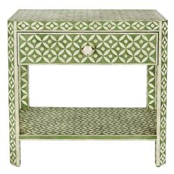 Danny Global 1 Drawer Green and Ivory Bone Rectangular Side Table