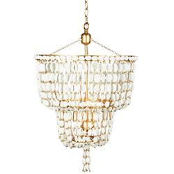 Ellaine Coastal Beach White Wood Beads and Gold Leaf 2 Tier Chandelier
