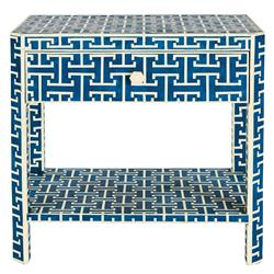 Jesse Global 1 Drawer Blue and Ivory Bone Rectangular Side Table