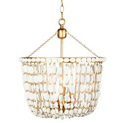 Luisa Coastal Beach 3 Arm White Wood Beads and Gold Leaf Chandelier