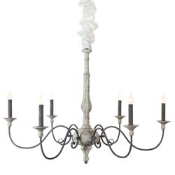 Musa French Country 6 Arm Carved Wood Spindle Rustic White Chandelier