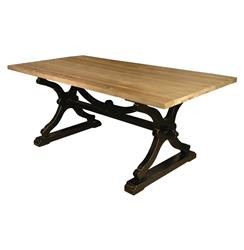 Quiznol Old Pine Black Base Rustic Farmhouse Dining Table | HS-CS20