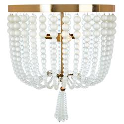 Winnie French Frosted Glass Beads with Gold Leaf Ceiling Mount Light - Medium