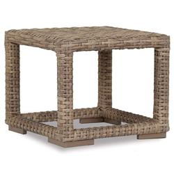 Sunset West Havana Coastal Brown Square Outdoor Side End Table