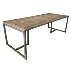 Rami Industrial Loft Aged Oak Large Dining Table | HS-KS238