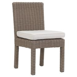 Sunset West Coronado Coastal Beige Cushion Brown Outdoor Dining Side Chair