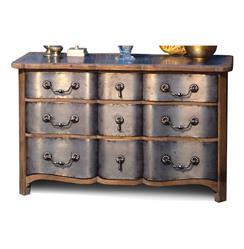 Zinc Reclaimed Wood Hollywood Regency 9 Drawer Dresser