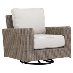 Sunset West Coronado Coastal Beige Cushion Brown Outdoor Club Swivel Rocker Chair