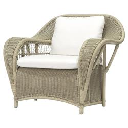 Palecek Biscayne Coastal Beach Hand Woven Rattan Cushion Lounge Chair