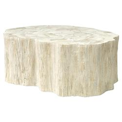 Palecek Camilla Coastal Beach White Inlaid Fossilized Clam Coffee Table