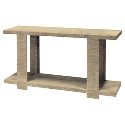 Palecek Clint Coastal Beach Woven Abaca Rope Hardwood Console Table - Natural