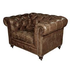 Kensington Chesterfield Leather Arm Chair in Vintage Cigar