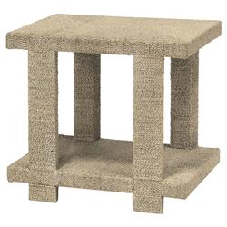 Palecek Clint Coastal Beach Woven Abaca Rope Hardwood Side End Table - Natural