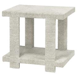 Palecek Clint Coastal Beach Woven Abaca Rope Hardwood Side End Table - White