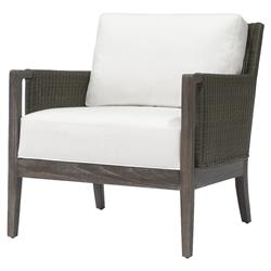 Palecek Connor Coastal Beach White Cushion Brown Wicker Lounge Chair