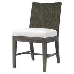 Palecek Connor Coastal Beach White Cushion Brown Wicker Side Chair