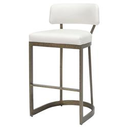 Palecek Conrad Modern White Upholstered Antique Gold Metal Bar Stool