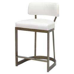 Palecek Conrad Modern White Upholstered Antique Gold Metal Counter Stool