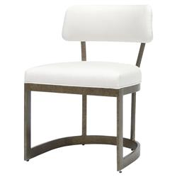 Palecek Conrad Modern White Upholstered Metal Side Chair - Antique Gold
