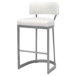 Palecek Conrad Modern White Upholstered Stainless Steel Bar Stool