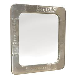 Modern Industrial Spitfire Aluminum Rivet Square Mirror | Kathy Kuo Home