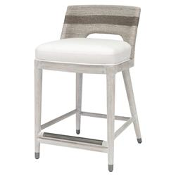 Palecek Fritz Coastal Beach White Lampakanai Rope Hardwood Counter Stool