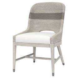 Palecek Fritz Coastal Beach White Lampakanai Rope Hardwood Side Chair