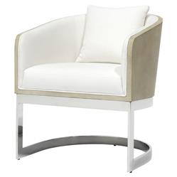 Palecek Kelly Modern White Brown Faux Shagreen Stainless Steel Round Arm Chair